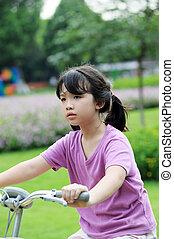 vélo voyageant, asiatique, gosse