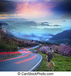 vélo voyageant, fond, gentil