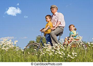 vélo voyageant, papy