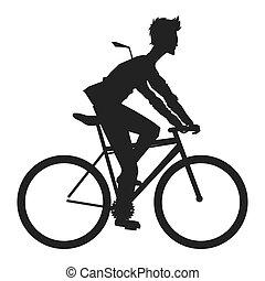 vélo voyageant, silhouette, homme, icône