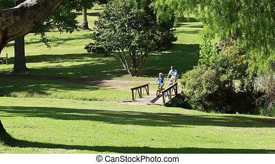 vélos, équitation, père, fils, ensemble