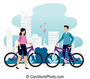 vélos, bâtiments, couple, scène, urbain