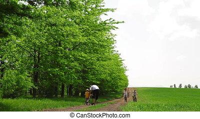 vélos, famille week-end, dehors