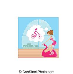 vélos, girl, exercice