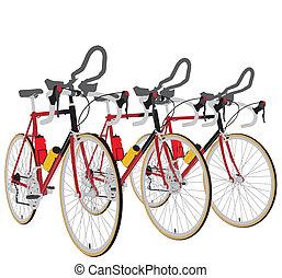 vélos, ligne, course, trois