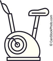 vélos, linéaire, illustration, concept., symbole, vecteur, ligne, signe, exercice, icône