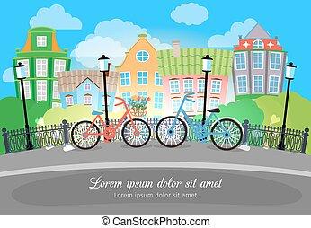 vélos, rue ville, lumières, pont