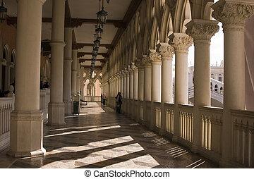 vénitien, balcon, colonnes, et, voûtes, dans, las vegas