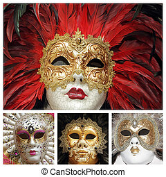 vénitien, collage, carnaval, masques