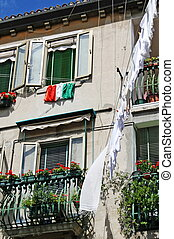 vénitien, maison, fla, italien