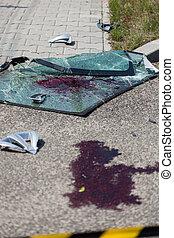 vér, az utcán, után, autóbaleset