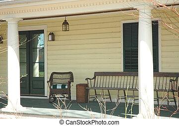 véranda, confortable, /, porche