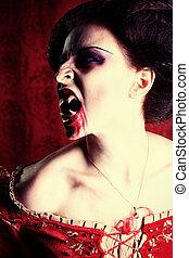 véres, vigyorog
