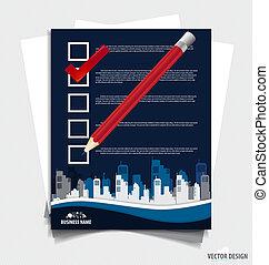 vérifié, illustration., liste contrôle, boxes., note, papiers, vecteur, marqueur, blanc rouge