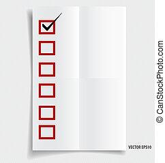 vérifié, pape, liste contrôle, note, boîtes, noir, marqueur, rouges