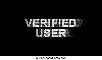 vérifié, tv, texte, effet, déformation, glitch, animation, utilisateur, numérique, boucle, 4k