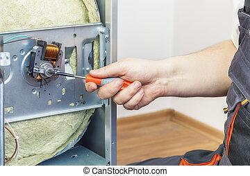 vérification, électricien, électrique, cuisinière