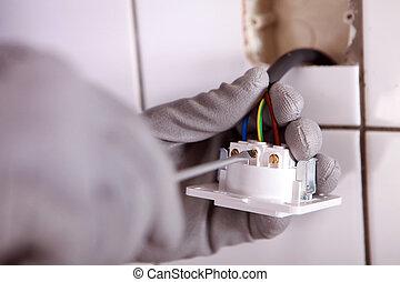 vérification, électricien, câblage