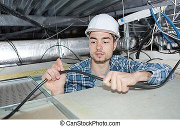 vérification, électricien, câble