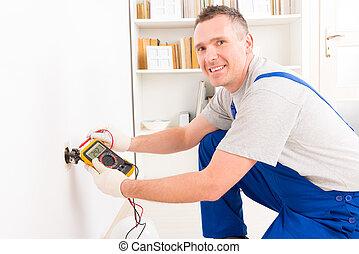vérification, électricien, douille