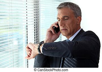 vérification, appel téléphonique, temps, homme affaires, ...