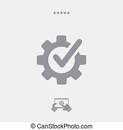 vérification, assistance, plat, icône