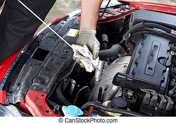 vérification, auto, oil., mécanicien