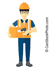vérification, box., ouvrier, barcode