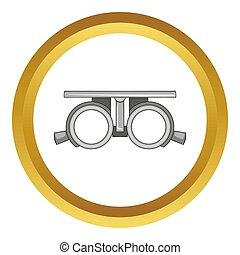 vérification, cadre, vision, icône