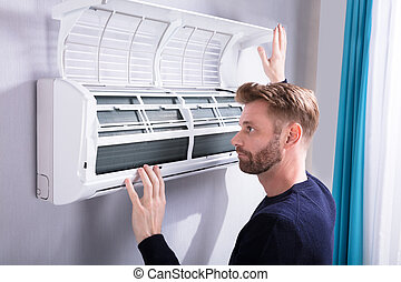 vérification, climatiseur, homme, jeune, air