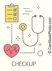 vérification, concept, santé, illustration