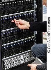 vérification, conseiller, étalage, mâle, san, datacenter, ...