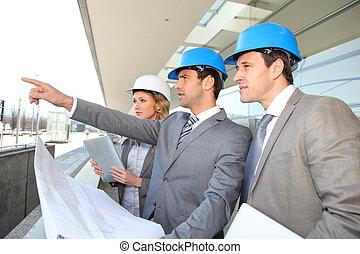 vérification, construction bâtiments, site, ingénieurs
