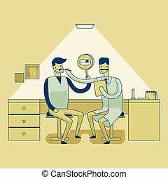 vérification, dentiste, dents, 's, homme