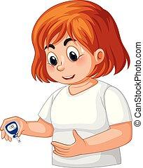 vérification, diabète, girl, glucose, sanguine
