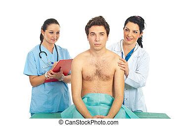 vérification, docteur, patient, femme, mâle