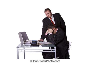 vérification, employé, sien, patron