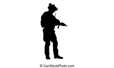 vérification, engrenage, munitions, uniforme, camouflage, ...