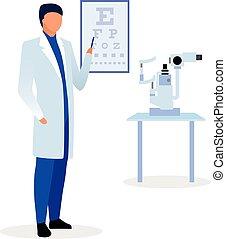 vérification, essai, examen, character., ophthalmological, acuity., dessin animé, plat, illustration., vision, visuel, diagramme, snellen, vue, pointage, vecteur, docteur, thérapeute, ophtalmologiste, yeux