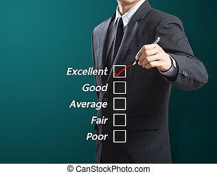 vérification, excellence, homme affaires