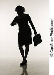 vérification, femme affaires, time.