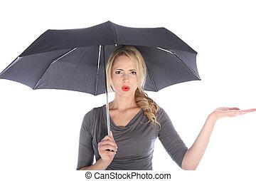 vérification, femme, parapluie, pluie, malheureux