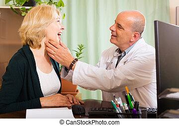 vérification, femme, thyroïde, docteur