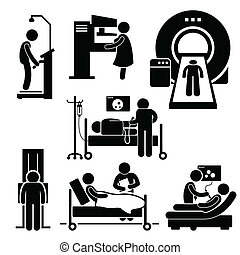 vérification, hôpital, monde médical, diagnostic