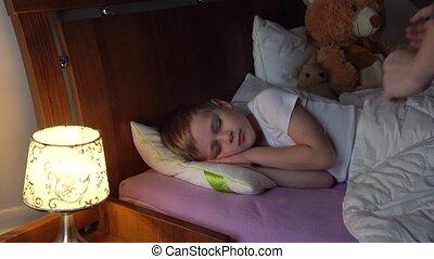 vérification, hers, dormir, mère, fils