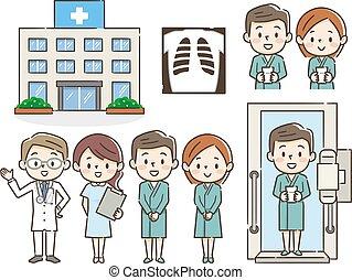 vérification, illustrations, monde médical, ensemble