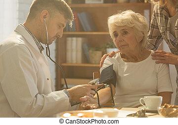 vérification, les, tension artérielle