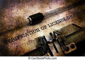 vérification, licence