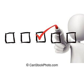 vérification, liste contrôle, 3d, homme
