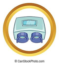 vérification, machine, vecteur, oeil, icône